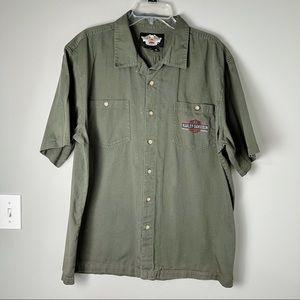 """Harley Davidson """"Work Mechanics"""" Button Down Shirt"""